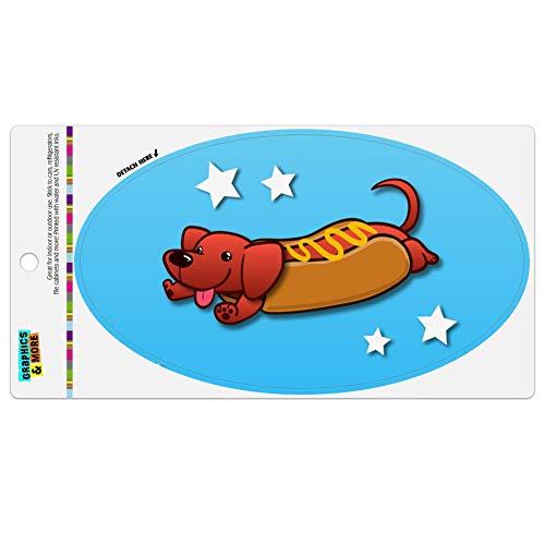 - Graphics and More Wiener Hot Dog Dachshund Cartoon Automotive Car Refrigerator Locker Vinyl Euro Oval Magnet