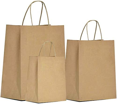 Brown Kraft Paper Gift Bags Bulk – 75 pcs Kraft Bags 6x3.25x8 & 8x4.25x10.5 & 10x5x13 Gift Bags, Brown Paper Bags, Craft Bags, Kraft Shopping Bags with Handles, 25 Pcs Each, Large & Medium & Small