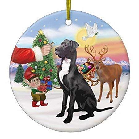 QMSING Santas Treat - Black Great Dane Ceramic Ornament - Ceramic Ornament BH609885