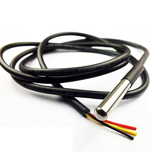 DS18B20 Stainless Steel Package 1 Meters Waterproof DS18b20 Temperature Probe Sensor 18B20 ()