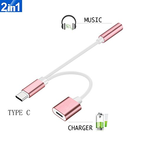 2 in 1 USB-C to 3.5mm Audio Adapter, ADABUNNY 2 in 1 USB Typ