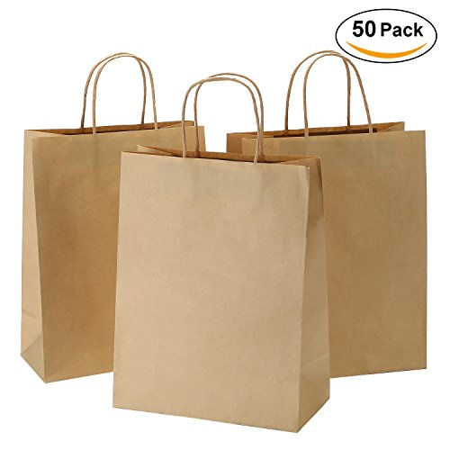 Road 10x5x13 Inches 50pcs Brown Kraft Brown Paper Bags with Handle, Retail bag, Craft Paper Bag, Shopping Merchandise Bag, Gift Party Bag