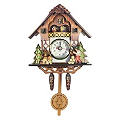 "JustNile Cuckoo Clock Inspired 8.5"" Tall Wooden Hanging Pendulum Quarz Wall Clock, Natural Vintage Décor Forest Cabin Design - Brown"