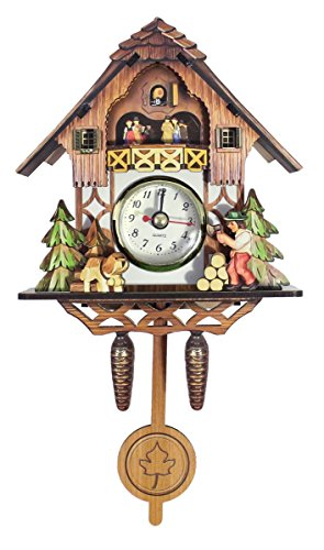 "- JustNile Cuckoo Clock Inspired 8.5"" Tall Wooden Hanging Pendulum Quarz Wall Clock, Natural Vintage Décor Forest Cabin Design - Brown"
