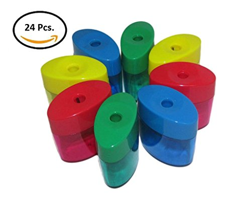 Mega Set Of 24 Single Hole Triangular Shaped Pencil Sharpener With Cover and Receptacle! Comes In Red, Blue, Yellow, and Green Colors! By Mega Stationers by Mega Stationers