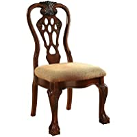 Furniture of America Lissenia Formal Side Chair, Cherry Finish, Set of 2