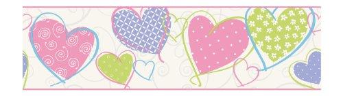 York Wallcoverings Friends Forever Love U Lots - Cenefa de papel pintado, diseño de corazón, Muestra, blanco (White .30)