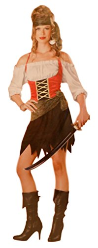 Women's Buccaneer Sexy Corset Pirate Halloween Costume Medium (Medevil Dresses)