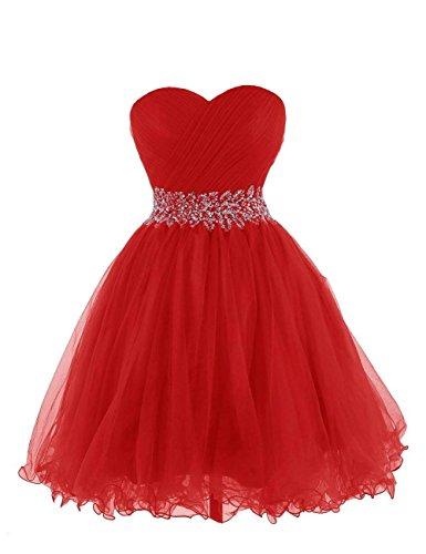Cóctel Vestido de de Vestido de MerryGirl Mujeres Rojo Novia de 34 Fiesta de Tul Las 0dxCqvw