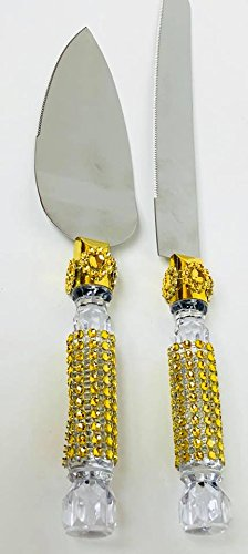 Server Pewter (Cake Knife and Server Set with Gold Rhinestone Decorations All Occasions Parties)