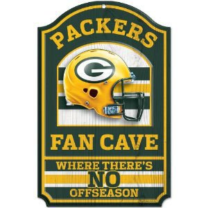 Sports Door Plaque - WinCraft NFL Green Bay Packers Fan Cave Wood Sign, 11