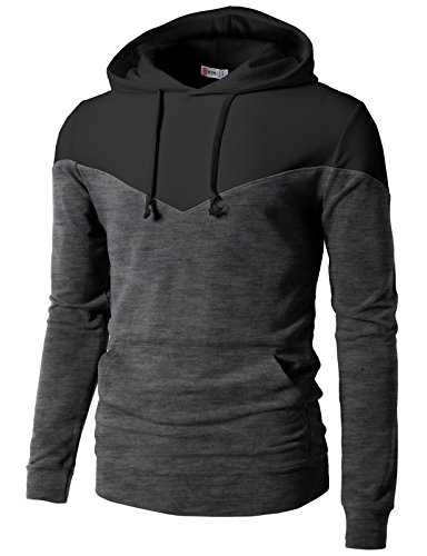 H2H Mens Casual Slim FitLong Sleeve Two Tone Hoodie With V- Design line CHARCOALBLACK US M/Asia L (CMTTL074)