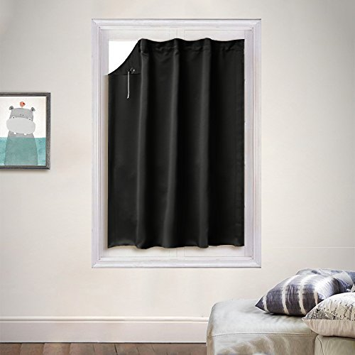 Versatile Window Treatment Blakout Blind - PONY DANCE Ajustable Portable Travle Blackout Curtain Panel Window Shade for Easy Installation including Suction Cups,51 by 78 inches,1 Piece,Black
