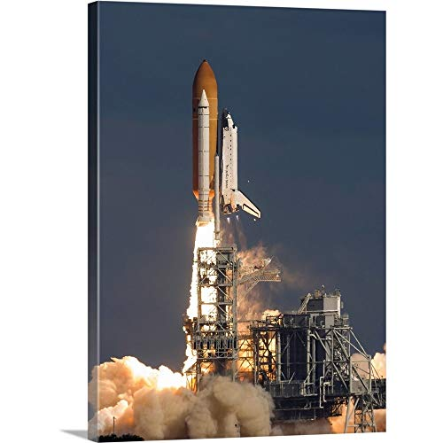 Space Shuttle Atlantis Clears The Tower at The Kennedy Space Center, Florida Canvas Wall Art Pr.