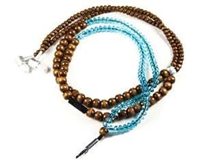 Cerhinu handcandy HF001BT The YOGI DuneTunes Stereo Headphone Necklace, Natural Wood Brown/Clear Facet Blue
