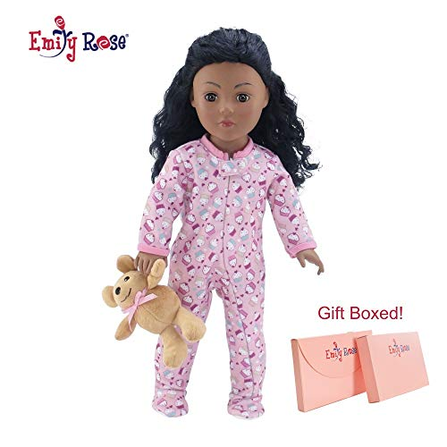 Emily Rose 18 Inch Doll Clothes |Adorable Footed Pink Cupcake Print Pajama PJ Outfit Onesie with Teddy Bear | Fits American Girl Dolls