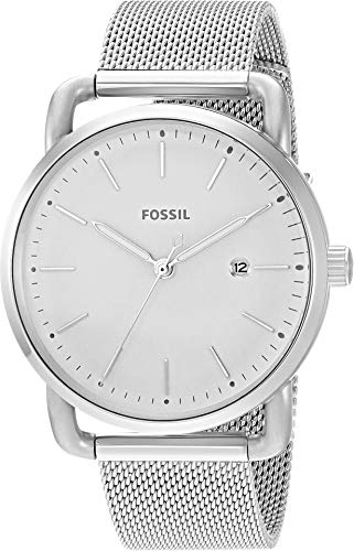 Ladies Stainless Steel Mesh - Fossil Women's The Commuter Quartz Stainless Steel Mesh Casual Watch, Color: Silver-Tone (Model: ES4331)