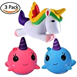 LuxKitto Squishy Unicorn Whale Cartoon Cute Kawaii Soft Squishies Toy, Bird, Whale, Stress Relieve Squeeze Soft Lovely Kids Gift Fidget Toy Slow Rising Miniature Novelty Charms Decoration Set 3pcs