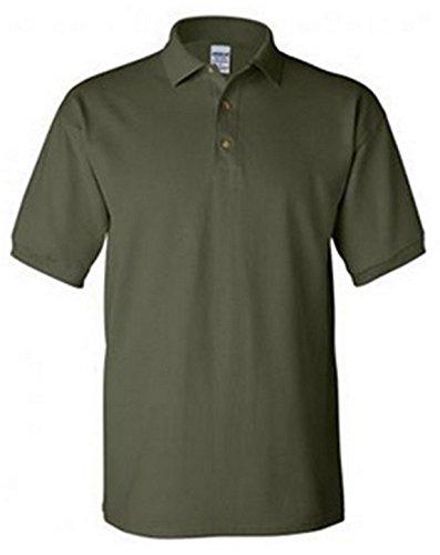 Gildan 6.5 oz. Ultra Cotton Combed Ringspun Pique Polo, Military Green, - Golf Shirt Pique Combed Cotton
