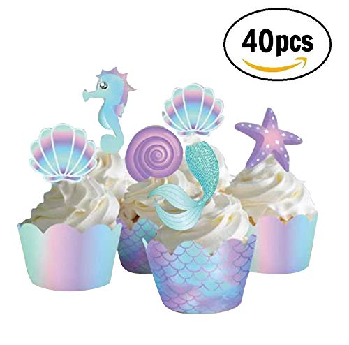 Mermaid Cupcake Toppers and Decorations Including toppers and Wrappers for Birthday Party or Baby Shower Complete Decorating -