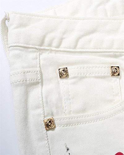 Mezclilla Pantalones Jeans Pantalones Waist96CM Leg Skinny Slim Blanco 38 De Size Straight Color Pantalones Pantalones Fashion De Hombres Lannister Impreso Los Casuales Fit Denim Stretch FqZUnxH