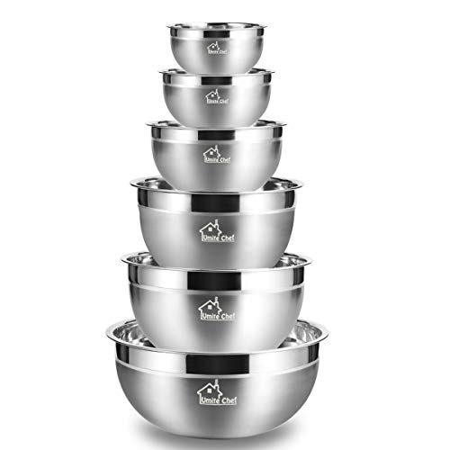 Mixing Bowls Stainless Steel, Thickened Premium Nesting Bowls by Umite Chef, Matte and Mirror Finish, For Healthy Meal, Nesting and Stack able, Set of 6 Sizes 1.59, 2.11, 2.85, 3.59, ()