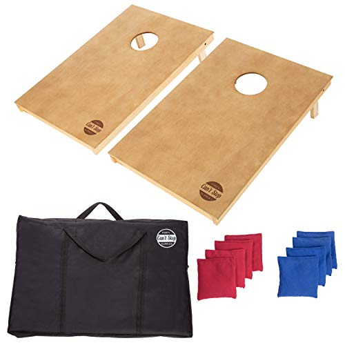 (CAN'T STOP PARTY SUPPLIES Cornhole Board Game Set with 2 Boards and 8 Beanbags - Wood)