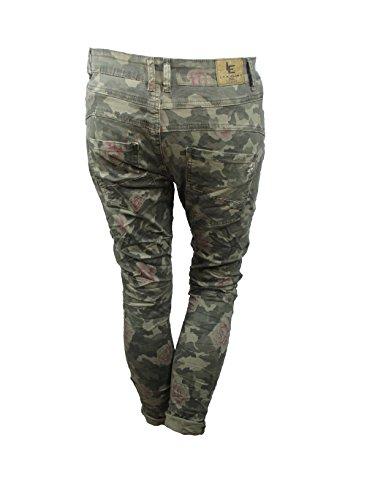 aperto LARGHI di Mimetico ragazzo lexxury abbottonatura Zip jeans tratto pantaloni donne Frontale t0wqf5