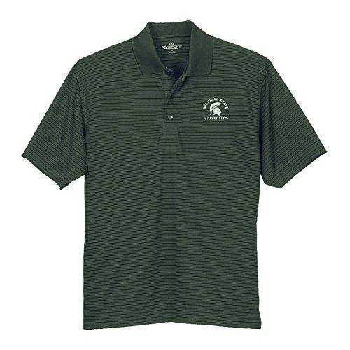 Elite Fan Shop Michigan State Spartans Striped Performance Golf Polo Green - M ()