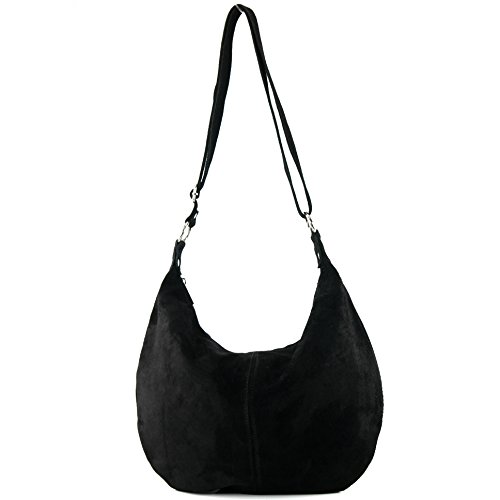 suede bag Italian handbag real leather bag T02 Black shopper bag shoulder Women's n10wZ6T1