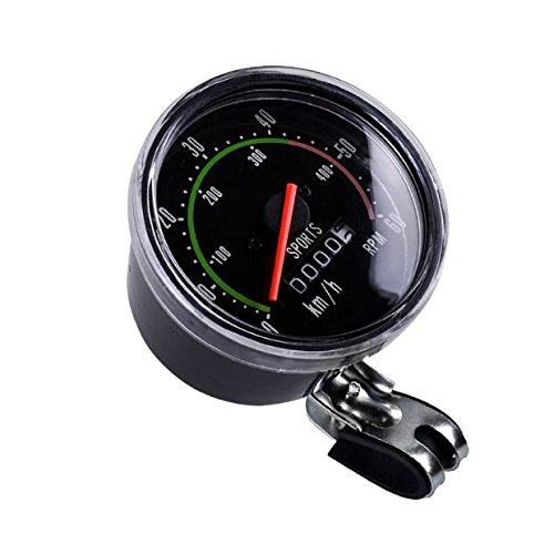 Black Classic Resettable Analog Speedometer Odometer Bike Bicycle Mechanical Waterproof Cycling Speed Distance Meter Exercycle Style Vintage