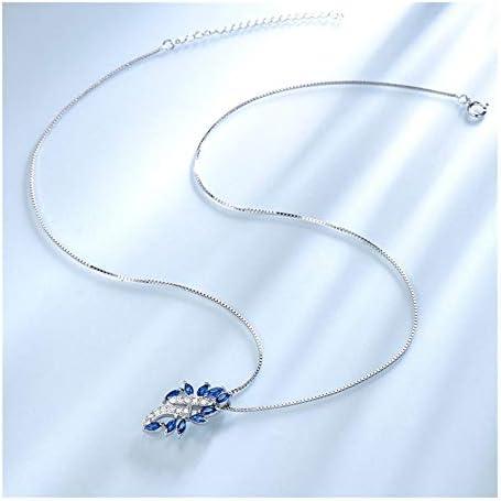 Chenyou Anhänger Halskette for Frauen Blaue Saphir-Blatt-Edelstein-Hochzeit Schmuck mit Kette Anhänger (Gem Color : Blue Sapphire)