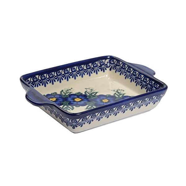 Traditional Polish Pottery, Lasagna Rectangular Casserole Baking Dish with Handles 22cm, Boleslawiec Style Pattern, O.401.Pansy
