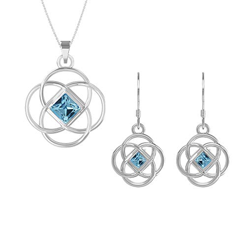 (Swarovski Pendant Necklace Earrings Studs Sterling Silver March Birthstone Aquamarine Color Celtic Knot Jewelry Set for Women and Girls)