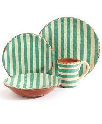 (Gibson Terra Cotta Stripes Turquoise 4-Piece Place Setting)