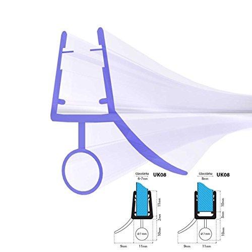 100cm UK08 -- Duschdichtung ABGERUNDET Runddusche Viertelkreisdusche Rundbogen für 6mm/ 7mm/ 8mm Glasdicke Runddichtung Ersatzdichtung vorgebogen KREIS rund