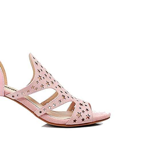 (High Heels Roman Sandals Designer Shoes Ladies Peep Toe Cage Runway Hollow Out,Pink Heel 8cm,39)