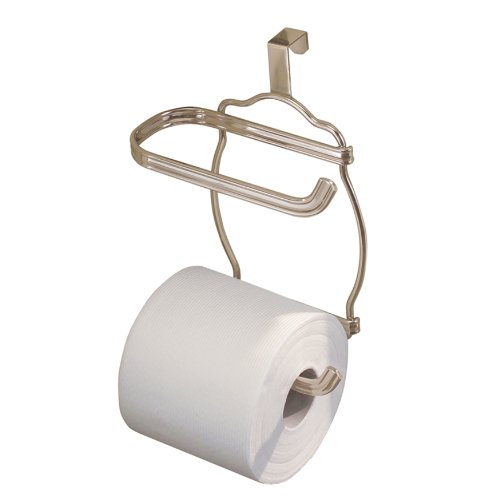 Euro Style Toilet Roll Holder (InterDesign York Lyra Over Tank Toilet Paper Holder – 2 Roll Storage for Bathroom, Satin)