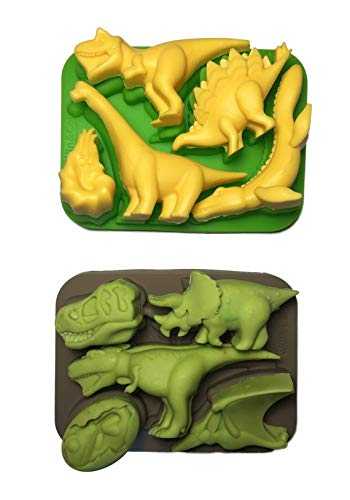 Win&Co Dinosaur Ice Trays/Chocolate Molds and 100% Food Grade Pure Silicone, Set of 2