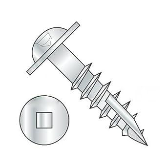 Quantity: 3,000 pcs #8 x 1 1//4 Deep Thread Wood Screws//Square//Round Washer Head//Steel//Zinc//Type 17 Pt//Type 17 Point