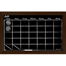 "Board Dudes Light Oak Frame Chalk Board Calendar with Chalk Pencil, 17""x 11"""