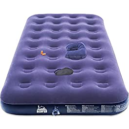 Bedped Twin Camping Air Mattress with Electric Pump – Durable Inflatable Air Bed – Portable Blow Up Mattress to Gifting Eye Mask, Pillow, Ear Plugs, Gifts for Women/Men/Mom/Dad