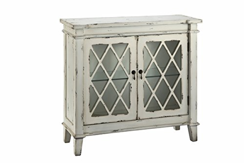 Stein World Furniture Goshen 2-Glass Door Cabinet, Antique White, White