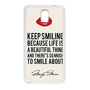 Marilyn Monroe Keep smiling Quote Cell Phone Case for Samsung Galaxy Note3