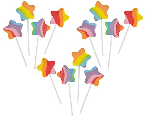 Rainbow Swirl Lollipops (Rhode Island Novelty 2-Inch Multi Color Swirl Rainbow Star Lollipops, Individually Wrapped, 4-Inch Stick (12-Units))