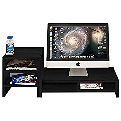 Dl Furniture Monitor Stand 2 Compartment Organizer Come With Portable Tall Side Stand | Black