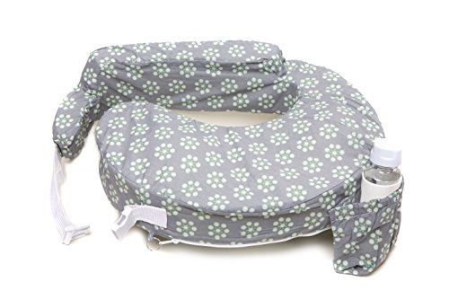 My Brest Friend Nursing Pillow Slipcover, Sage Dotted Daisies, Grey, Green