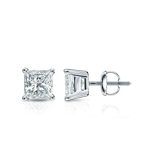 Pc100 Natural - 14k White Gold Princess-cut Simulant Diamond CZ Stud Earrings 4-Prong Basket(1 ct,Excellent Quality)