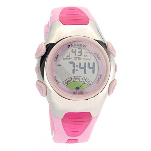 Foxnovo PASNEW PSE-219 wasserdichte Kinder jungen Mädchen LED Digital Sport Uhr mit Datum /Alarm Stoppuhr (Pink)