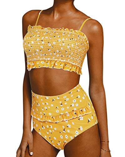 SUUKSESS Women Cute Shirred Bandeau Bikini Sets Off Shoulder 2 Pieces Swimsuit (Small, Yellow Floral) ()